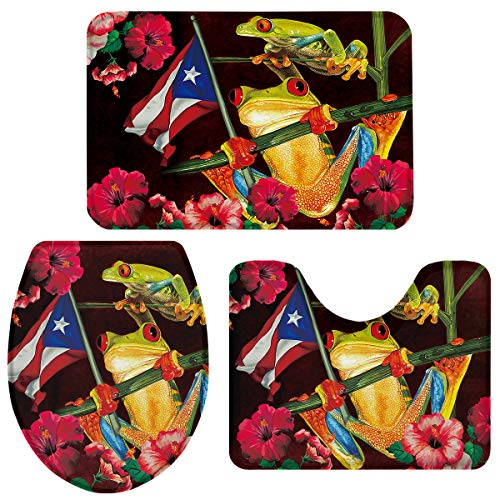 OneHoney 3 Pieces Bath Rugs and Mats Set Puerto Rican Flag Red Eye Tree Frogs Bathroom Decor Floor Doormat Rug, Non Slip U-Shaped Toilet Floor Mat, Toilet Seat Cover Plant and Animal