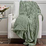 The Connecticut Home Company Soft FluffyFaux Fur Bed Throw Blanket, Luxury Sherpa Reversible Blankets, Comfy Plush Washable Accent Throws for Sofa, Beds, Couch, Fuzzy Home Bedroom Decor,65x50, Sage
