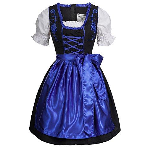 Gaudi-Leathers Damen SW2550 Dirndl, Blau Schwarz 050), 38