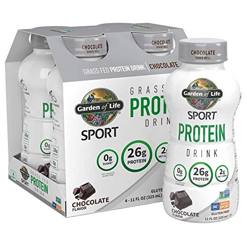 Garden of Life Sport Grass Fed Protein Shake - Chocolate, 16-Pack, Ready to Drink Dairy Protein Shakes, 26g Clean Protein, Low Carb, Gluten Free, 16-11 fl oz High Protein Drinks *Packaging May Vary*