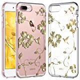 ULAK iPhone 8 Plus Case, iPhone 7 Plus Case Clear with Flower Design, Slim Fit Heavy Duty Protection Hard PC Back Soft Silicone Bumper Case Cover for iPhone 8 Plus / 7 Plus 5.5 Inch, Floral