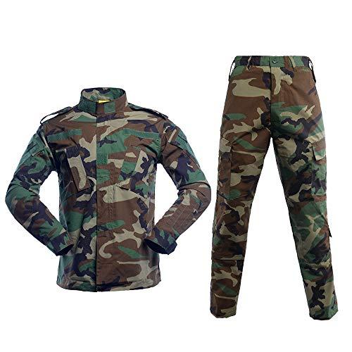 Militärische taktische Herren-Kampfuniform, Set aus Hemd und Hose, Camouflage-Uniformen für Armee, Airsoft, Paintball, Jagd - Grün - Mittel
