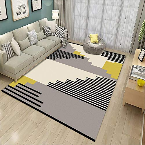 Jiaosa Rugs Bedroom grey Salon carpet gray simple short stripe pattern anti-dirty carpet soft Garden Rugs Large Waterproof 140X200CM Large Rugs 4ft 7.1''X6ft 6.7''