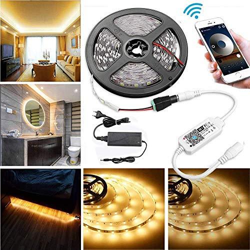 WLAN Dimmbar 5m LED Streifen Set 300 LEDs Lichtband mit 3A Netzteil, 2835SMD Strip Kit Licht Band Leiste Lichtleiste, 3000K Warmweiß, 12V Innenbeleuchtung mit Wifi/App gesteuert arbeite mit Alexa
