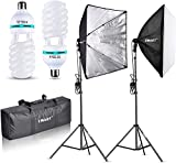 EMART Softbox Lighting Kit 24'x24'(60cm x 60cm), Professional Photography Continuous Lighting Equipment 1000W Softbox Studio Lights With 5500K Light Bulbs For Portraits, Video and Product Shooting