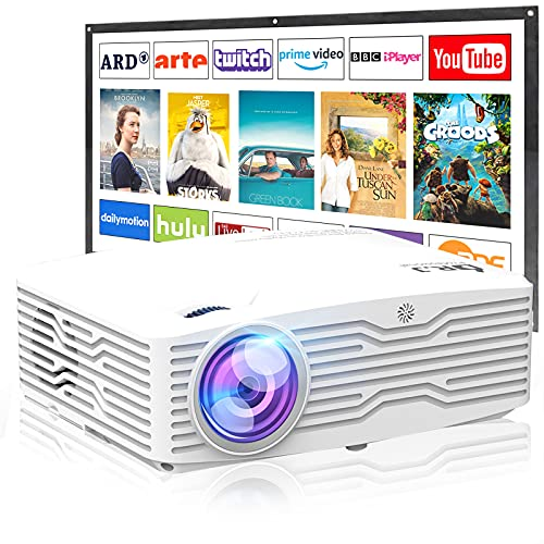 Upgraded Native 1080P Projector, 7500Lumens Full HD Projector, Smartphone Synchronization, Compatible with TV Stick/PS4/DVD Player/HDMI/AV/VGA for Indoor and Outdoor Movies