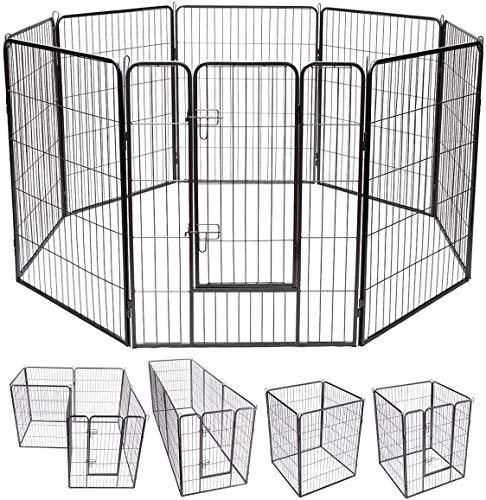 COSTWAY Parque de Metal Plegable para Perro Animales Barrera de Seguridad con Puerta y Cerradura para Cachorros de Jardín Interior Exterior