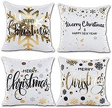 Xmas Decoration Gold Snowflakes Merry Christmas Soft Velvet Throw Pillow Covers 45 x 45cm /Set of 4, Gold Foil Xmas White