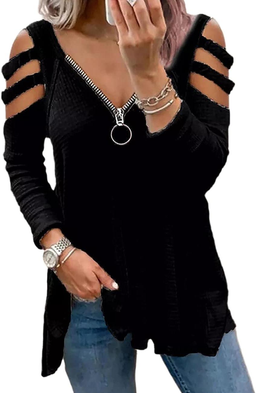 SEBOWEL Womens Tops Cutout Cold Shoulder Zipper V Neck Short Sleeve Tunics Shirts Casual Loose Flowy Blouse