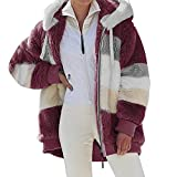 IQYU Giacca da donna con cappuccio e coulisse, giacca invernale da donna, multicolore, esterno in peluche con cappuccio e cerniera, Colore: rosso, XXXXL