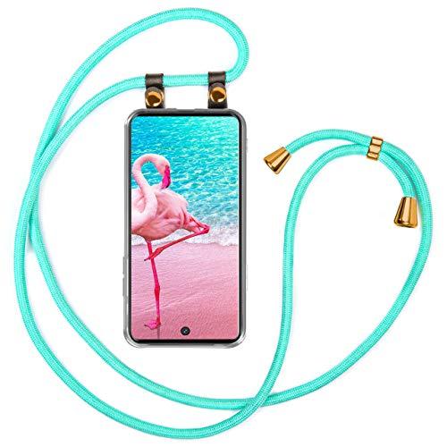 moex Handykette kompatibel mit Samsung Galaxy A71 - Silikon Hülle mit Band - Handyhülle zum Umhängen - Hülle Transparent mit Schnur - Schutzhülle mit Kordel, Wechselbar in Türkis