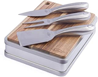 ILEAF Cheese knife and Board Serving Set of 4, Small Acacia Wood Board with Stainless Steel Cheese Knife and Cheese Fork in Storage Box, Ideal for Gifts