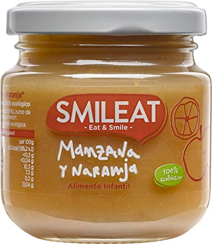Smileat Tarrito de Manzana y Naranja Ecológica - Paquete de