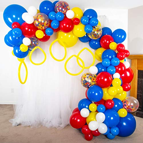 Shimmer and Confetti Premium 16ft Royal Blue, Red, Yellow, White Hedgehog Action Figure Balloon Garland Kit for Gaming, Superhero, Carnival Birthday Decoration Supplies