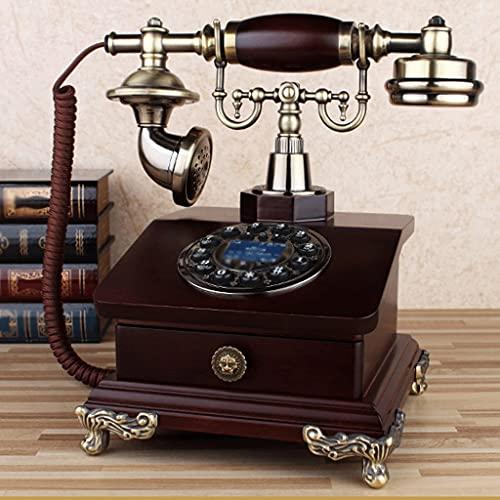 YUTRD Teléfono Retro Vendimia Madera De Rotación Rural Línea De Teléfono Fijo En Casa De Disco Telefónico De La Antigüedad, La Rueda Giratoria Funcional Y Toma De Teléfono Clásico (Color : B)
