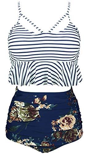 COCOSHIP Navy Stripe & Pink White Cream Floral Falbala High Waist Bikini Set Crisscross Hollow Out Swimsuit Bathing Suit XXXL