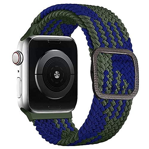 Soft Sport de Correas Compatible con Apple Watch Serie SE/6/5/4/3/2/1, Correa Solo Loop Deportiva con Nylon de Repuesto para Iwatch 42mm 44mm, Azul Verde