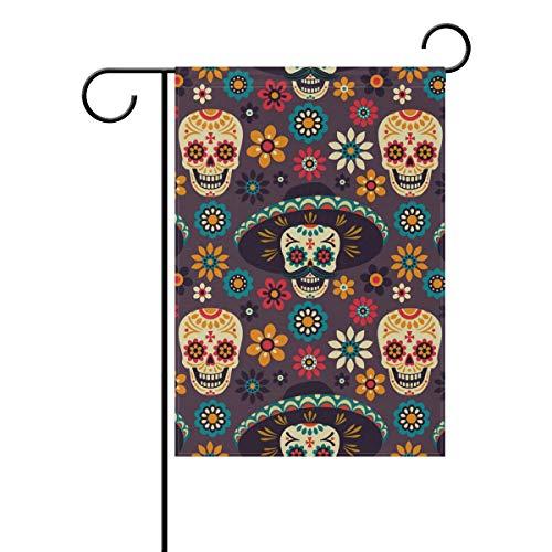Polyester Garden Drapeau foncé Style Gothique maléfique Tête de Mort Halloween Bannière 30,5 x 45,7 cm pour extérieur Home Garden Pot de Fleurs Décor fête Maison Drapeau 12x18(in) Multicolore