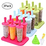 Popsicle Molds 3 Sets Ice Pop Molds Ice Pop Maker with Funnel and Brush, 3 Colors