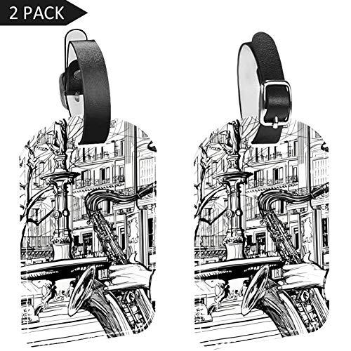 LORVIES Paris Street Spelen Saxofoon Bagage Tags Reizen Labels Tag Naam Kaarthouder voor Bagage Koffer Tas Rugzakken, 2 PCS