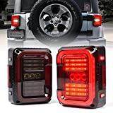 Xprite Led Tail lights for Jeep Wrangler JK JKU 2007-2018, Plug and Play, High Intensity w/ Running Light, Brake Turn Signal Lamp and Reverse Lamps DOT APPROVED