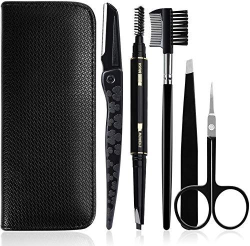 GiBot Pinzette Sopracciglia, 5pcs Kit per la cura del sopracciglio in acciaio inox con pinzette, Forbici per sopracciglia, pettine, matita, rasoi e custodia da viaggio per donne e uomini, nero