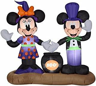 Gemmy 5 Ft Mickey Mouse Vampire and Minnie Mouse Witch with Cauldron Halloween Airblown Inflatable