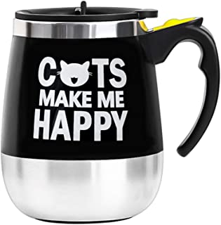 BINE Self Stirring Mug Auto Self Mixing Stainless Steel Cup for Coffee/Tea/Hot Chocolate/Milk Mug for Office/Kitchen/Travel/Home -450ml/14oz (Cats Make Me Happy)