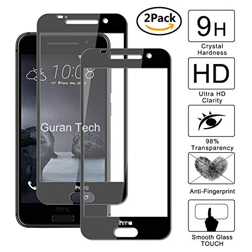 Guran [2 Paquete] Protector de Pantalla para HTC One A9 [Full Coverage] Vidrio Cristal Templado 100% Cobertura Completa Film - Negro