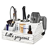 Hair Tools and Styling Organizer, Rustic Hair Dryer Holder Countertop, Bathroom Supplies Countertop Storage Stand and Vanity Caddy for Blow Dryer Flat Iron Curling Wand Hair Straightener Brushes