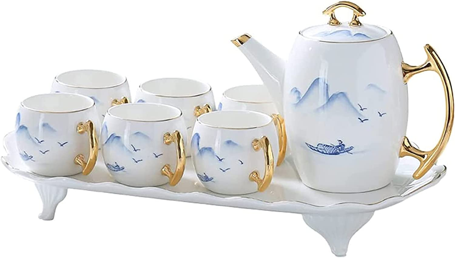 Ceramic Teapot Set 6 Free Shipping Cheap Bargain Dallas Mall Gift Tea Cups M Brewer with Handle 1000ML