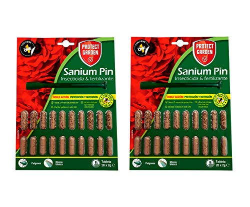 PROTECT HOME Pack de 2 Prontect Home-Sanium Pin insecticida sistémico con Fertilizante y micronutrientes, Tratamiento Combinado, 20 Pastillas, Verde (11092)