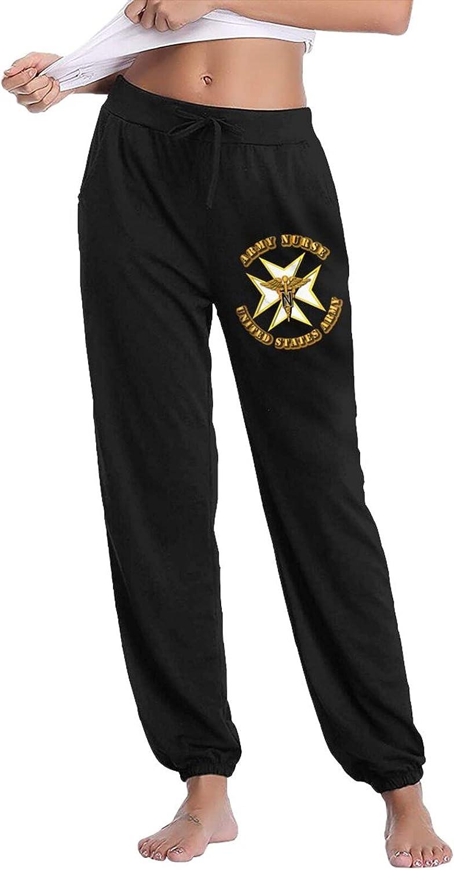 Pkaixin Army Nurse Badge Women's Cotton Long Pants with Pockets Workout Casual Sweatpants Drawstring Waist Jogger