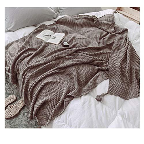 GuoCu Elegante Manta de Punto con Borla Súper Suave cálido Tejer Cobertura para Ver la Televisión en la Silleta, Sofá y Cama 1 130 * 170cm