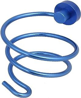 NEW LON0167 Aluminium Alloy Dark Blue Wall Mounted Hair Dryer Holder w Plug Hanging Hook(Aluminiumlegierung dunkelblauer W...