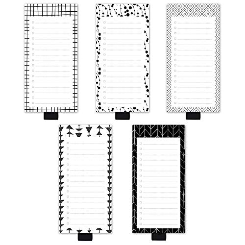 5 Pack Floral Theme Magnetic Notepads with Pen Holder,for Grocery, Shopping and to Do Lists with Checkbox,Note Pad for Refrigerator 3.3' x 3.8',50 Sheets (White Black)