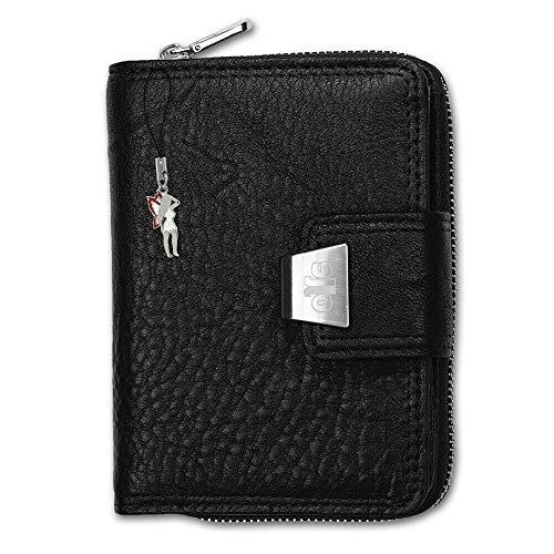 Damen Geldbörse Portemonnaie Geldbeutel Rindleder 5197, Schwarz, 9x13cm