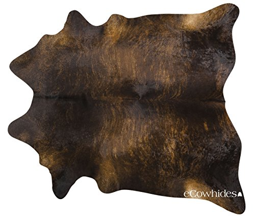 ecowhides Dark Brindle Brazilian Cowhide Area Rug, Cowskin Leather Hide for...