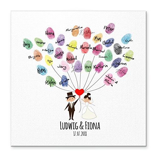 Madyes Leinwand Hochzeit Fingerabdruck Gästebuch personalisiert Brautpaar Herz Luftballon für das Brautpaar als Geschenk, Hochzeitsdekoration, Namen mit Datum. 50x50 cm groß auf Keilrahmen Holz
