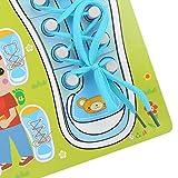 Aides pédagogiques pour lacets pour bébé, jouet pour chaussures à laçage, enfants pour les tout-petits qui apprennent à attacher des chaussures(QZM-Blue and Green Style Shoelaces, blue)