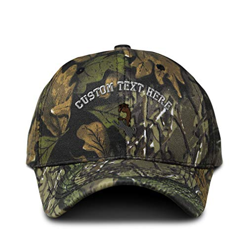 Custom Camo Baseball Cap Groundhog Day Embroidery Cotton Hunting Dad Hats for Men & Women Strap Closure Forest Tree Green Personalized Text Here