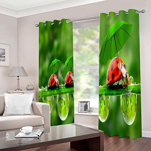 fgjorics Ladybug Waterproof and Mildew Proof Polyester Curtain Shading 3D Home Office Decorative Curtains (2 Panels) 230(H) X140(W) Cmx2