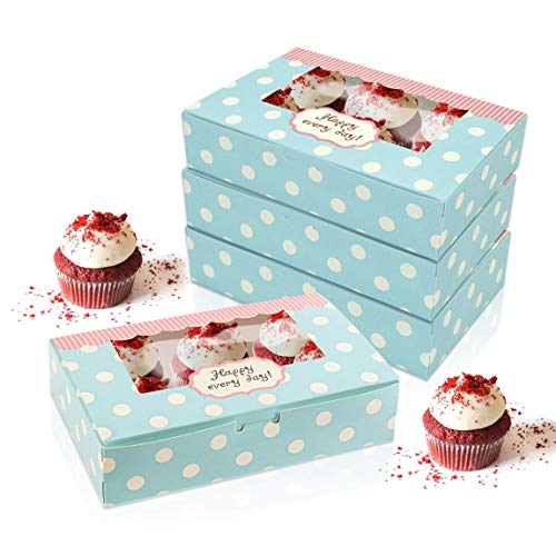 NIUPSKY 15 Pieces Paper Cake Boxes for Cookies Cupcake Pastry Packaging Gift Boxes Pastry Container Set (Green-DOTS)
