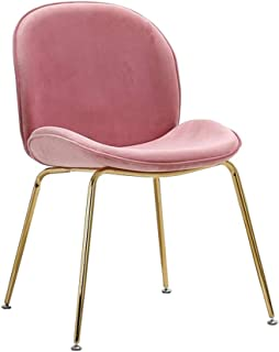 Life HS Sillas de Comedor Juego de 2 Asiento Blando y sillas de Terciopelo Verde Sala de Estar con Patas de Oro Robusta de Metal Sillas de Cocina para Comedor, Verde,Pink x 2