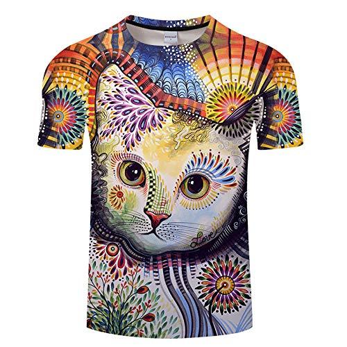 Novedad Camiseta De Cuello Redondo Único Gatito Pintado En 3D Impresión Digital Suéter Transpirable Cuello...