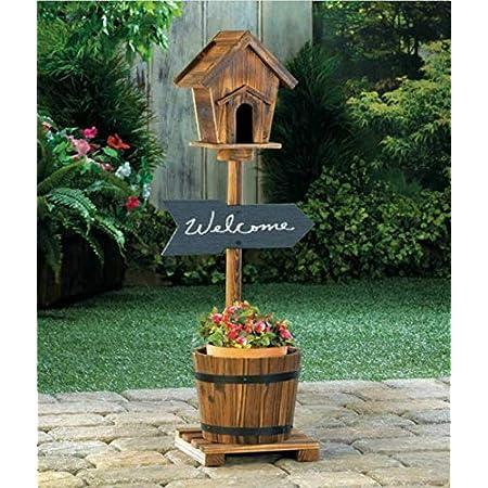 Rustic Bird House/Feeder with Barrel Planter Pot Decor