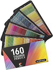 160 Lapices de Colores (Numerados) Zenacolor - Almacenamiento Fácil - Estuche Lapices dibujo profesional para Adultos - Ideal para Colorear, Mandalas Colorear Adultos, Material Escolar