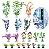 20 piante artificiali per acquario, in plastica colorata, per acquario, decorazione paesaggistica, con termometro (5-30 cm)