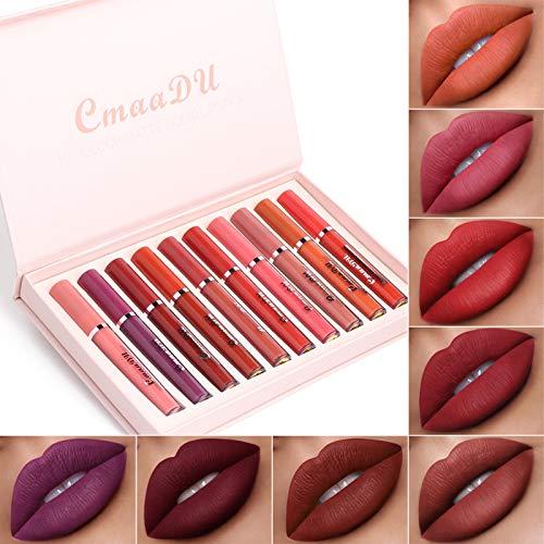 10 Couleurs Rouge à Lèvres Mat, Longue Durée Waterproof Liquide Rouge à Lèvres Kit, Mini Hydratant Lip Gloss mat liquide