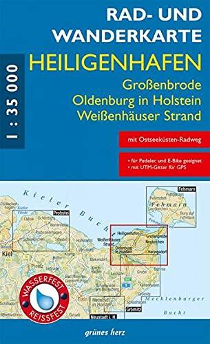Rad- und Wanderkarte Heiligenhafen, Oldenburg in Holstein, Großenbrode: Maßstab 1:35.000. Wasser- und reißfest.
